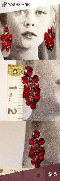 """Vintage red Aurora Borealis articulated earrings Vintage ruby red aurora Borealis articulated drop clip earrings. Measures 1.75"""" long and about .5"""" wide. Clips are sturdy and in good working order. Excellent vintage condition reasonable offers welcome and accepted. Add to a bundle and I'll offer you a great deal ❤ Vintage Jewelry Earrings"""