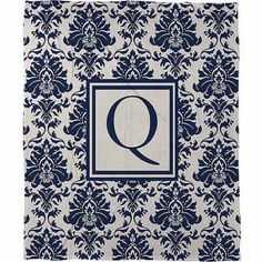 Thumbprintz Damask Monogram Fleece Throw, Blue