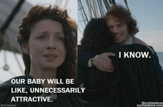 """Jamie walks up to Claire, who has just been sick over the side, and teases her. She wants to make sure that they will be okay headed into """"an uncertain future"""" and he reassures her that he will make sure they are, and that he is working on overcoming what happened to him. He promises her a return to Scotland, whereupon she reminds him of The Rising and urges him to see if they can't stop the rebellion and change history. Jamie promises to give it thought. Claire has one more surprise for him…"""