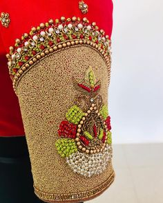 25 Dashing Red Work Blouse designs to try for your wedding - Wedandbeyond Hand Work Blouse Design, New Blouse Designs, Stylish Blouse Design, Silk Saree Blouse Designs, Bridal Blouse Designs, Aari Work Blouse, Maggam Work Designs, Hand Embroidery Designs, Aari Embroidery