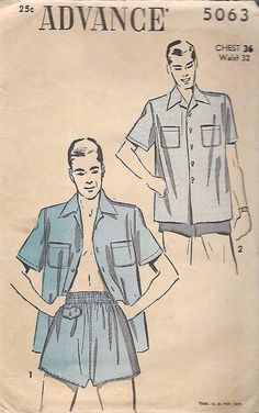 "Vintage 1940's Sewing Pattern Men's Shorts Trunks & Shirt Set WWII C 36"" W 32"" #Advance"