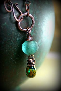 Ancient Oceans Lariat Necklace  Upcycled by AllowingArtDesigns, $36.00