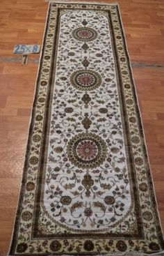 "2'6""x8' Runner Hand-knotted 200 kpsi Silk Oriental Persian Tabriz Rug 9437"