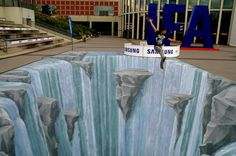 Waterfall - 3d street painting WATERFALL at the IFA (biggest fair in the world for electronic products), Berlin 2010. Amazing 3D Street Art, http://hative.com/amazing-3d-street-art/,