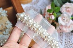 Pearl beaded lace trim bridal sash wedding Belt beaded by lacetime