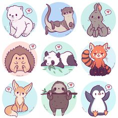 Kawaii Animals Stickers Owl Snow Leopard Shiba Fox Husky Peacock Corgi sloth fennec penguin red panda and more 3 Cute Animal Drawings Kawaii, Cute Kawaii Animals, Kawaii Art, Cute Baby Animals, Kawaii Chibi, Cute Animals To Draw, Cute Drawings Of Animals, Anime Chibi, Pet Anime