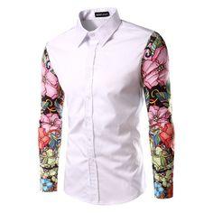 2016 New Arrival Man Shirt Pattern Design Long Sleeve Flowers Print Slim Fit man Casual Shirt Fashion Men Dress Shirts