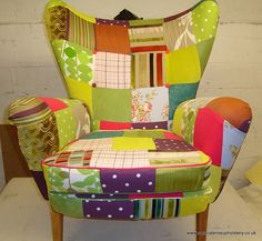 patchwork chair by mescaleros upholstery London, via Flickr