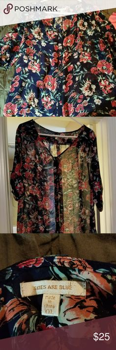 3/4 floral sheer top - skies are blue - xxl Beautiful sheer floral top from stitch fix, fits tts Skies Are Blue Tops Blouses