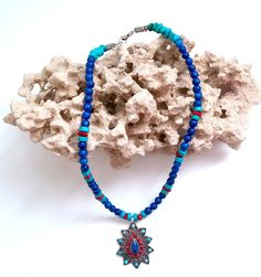 Sale...Stunning Lapis Coral Turquoise Sterling Silver by glamrox