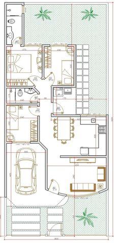 Projeto de casa térrea de 3 quartos com 84,88m²