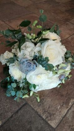 White roses and succulent bouquet