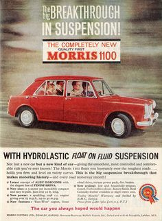 """""""The car you always hoped would happen"""" - Morris 1100 advert, 1962."""