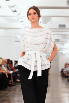 Classic #White shirt with #Black bottoms at CARMEN MARC VALVO #MBFW