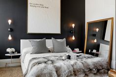 How to Create Stunning Interior Design in Black n White, 100 Plus 30 Black White Decor Ideas – Lushome Modern Bedroom Decor, Contemporary Bedroom, Home Bedroom, Bedroom Ideas, Master Bedroom, Bedroom Designs, Eclectic Bedrooms, Bedroom Small, Bedroom Furniture