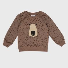 Kleding :: Sweaters & Vesten :: Truien :: Peutertrui Mini Rodini Bear AOP Sweatshirt Brown - GROM Online Tienerkleding Kinderkleding en Kinderschoenen.