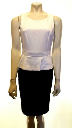 Black and White Smart Work Business Peplum Dress UK 8 Newlook