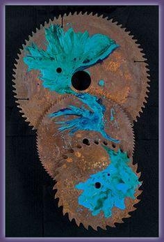 Playing the Blues, Encaustic on Oxidized Steel by Jan Wistrun Dreher, El Paso, TX