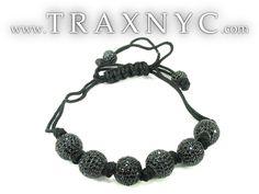 Black Crystal Rope Bracelet 27743 Mens Sterling Silver Bracelet .925 Silver - TraxNYC.com (TIM WANTS THIS)