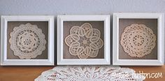 vintage doilies in a shadow box frame