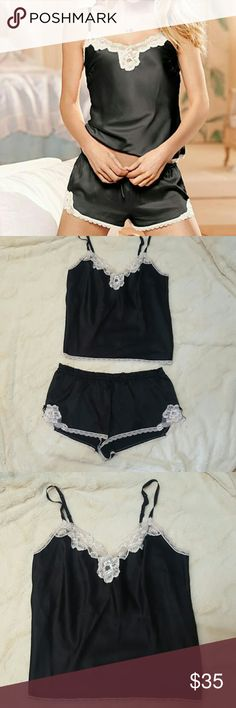 Victoria Secret Satin & Lace Cami+Tap Short PJ Set Victoria Secret brand in a size Medium. This was only worn once. The set comes from VS and the Cami has adjustable straps and lined with lace. The tap shorts have an elastic waistband,  small drawstring,  and small bows on the bottom. Smoke free home and fast shipping. I do offer bundle deals as well. Thank you for checking out my closet. Victoria's Secret Intimates & Sleepwear