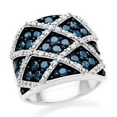 2.00 Carat Blue & White Criss Cross Diamond Ring in Sterling Silver #Netaya