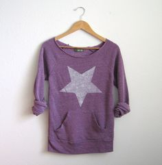 White Hot Star HAND STENCILED Deep Scoop Neck Heather Artist Series Sweatshirt in Purple