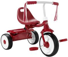 Radio Flyer Fold 2 Go Trike by Radio Flyer. $51.50. Radio Flyer Fold 2 Go Trike With its attractive features and trendy design, kids are going to enjoy Radio Flyer Fold 2 Go Trike. It has a radio for entertainment and comes in a variety of attractive colors. It also inculcates a rubberized handle for a good grip. Age:  18 months to 3 years  Features Fully assembledComfortable gripSturdy and safeSafety latch NOTE:  Assembly required, choking hazards for kids be...