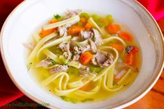 "Turn a pair of ""tough"" wild turkey legs into this turkey noodle soup."