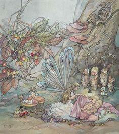 Fairies going to bed by Peg Maltby. Watercolour on paper, signed lower left: P. Maltby, x cm Fantasy Kunst, Fantasy Art, Art Magique, Fantasy Magic, Kobold, Elves And Fairies, Fairy Pictures, Vintage Fairies, Fairytale Art