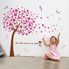 Pink Blossom Tree Flowers & Little Fairies (Fairy) Wall Stickers Art Decals for Home Decor, Rooms, Nursery, Children, Kids,Boy and Girls