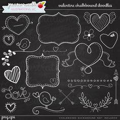 Valentine Chalkboard Doodles - JW Illustrations - #valentine ...