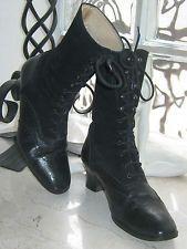 Laura Ashley Vintage Estilo Victoriano & Gamuza Cuero Negro Botas al tobillo con cordones, 5/6
