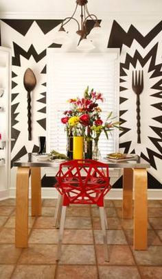 Graphic, vibrant, fun dining room