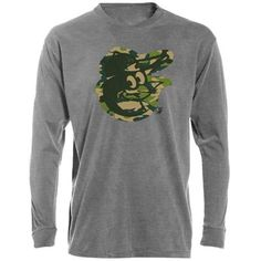 Majestic Baltimore Orioles Camo Heathered Tri-Blend Long Sleeve T-Shirt - Ash