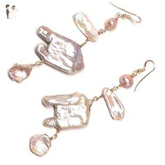 Large Mauve Cultured Freshwater Pearl Abstract Flamingo Statement Earrings Sterling Silver Gold-filled - Wedding earings (*Amazon Partner-Link)