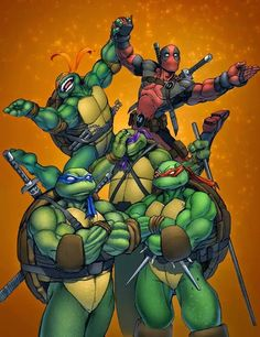 TMNT  Deadpool.  I love how Donnie is facepalming.