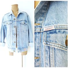 9da302b762 Details about Vintage 80s Guess Trendy Denim Jacket Size Medium BOXY  Trucker Jean Distressed
