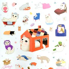 Jetoy Choo Choo Cat Sweet Deco Stickers in At Home Usa Tumblr, Cat Stickers, Cute Characters, I Love Cats, Cat Art, Neko, Character Art, Stationery, Kids Rugs