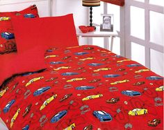 $100 Custom Twin Size Dark Blue, Red Racing Cars Printed  Kid Bedding Set For Boys