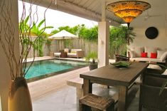 A charming three-bedroom holiday home and personal oasis, Villa Sophia offers sleek, modern design and absolute elegance in the heart of Seminyak. Outdoor Furniture Sets, Outdoor Decor, Ubud, Private Pool, Cabana, The Best, Modern Design, Home And Garden, Dining Area