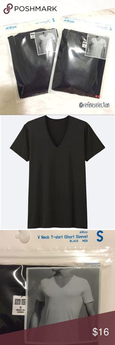 Selling this 2 Uniqlo AIRism Black V-Neck Men's T-Shirt on Poshmark! My username is: refineselection. #shopmycloset #poshmark #fashion #shopping #style #forsale #Uniqlo #Tops