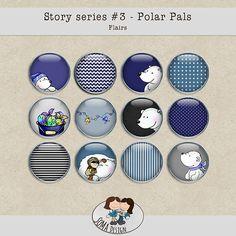 Story Series - Polar Pals Flairs The Polar Pals is the third part of our Story series. Series 3, Digital Scrapbooking, Design, Art, Art Background, Kunst, Performing Arts, Art Education Resources