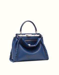 FENDI   FASHION SHOW REGULAR PEEKABOO blue leather handbag with weave