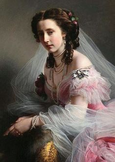 One of the most famous painting by Franz Xaver Winterhalter was that of Princess Anna of Prussia. The princess, dressed in this painting. Franz Xaver Winterhalter, Woman Painting, Painting & Drawing, Family Painting, Painted Ladies, Foto Art, Victorian Art, Prussia, Portrait Art