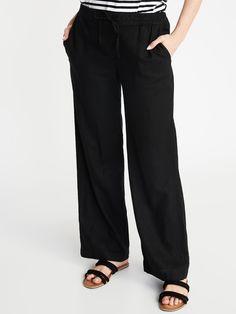 Mid-Rise Linen-Blend Pants for Women Black Linen Pants, Shop Old Navy, Work Wardrobe, Capsule Wardrobe, Pull On Pants, Navy Women, Resort Wear, Girls Shopping, Shopping Bag