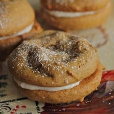 Soft molasses cookies sandwiched with ginger cream cheese filling. A great Christmas treat.