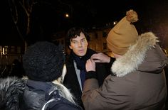 Serious, very serious. lol. Benedict Cumberbatch shoot for Sherlock 3×01 in Portland Square