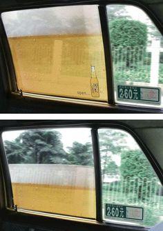 Beer on taxi windows