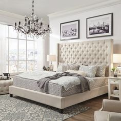 Bedroom decor Three Posts Borchers Upholstered Platform Bed Bed shopping advice for the tired shoppe Upholstered Platform Bed, Upholstered Beds, Wingback Headboard, Bedroom Headboards, King Size Headboard, Decoration Bedroom, Home Decor Bedroom, Bedroom Ideas, Silver Bedroom Decor